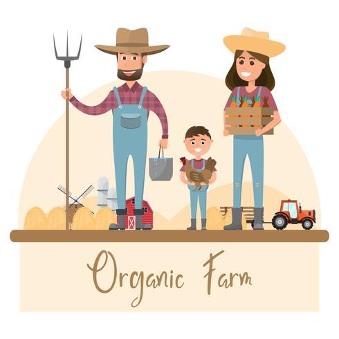 Lycklig bondefamiljstecknadskaraktär i ekologisk lantgård