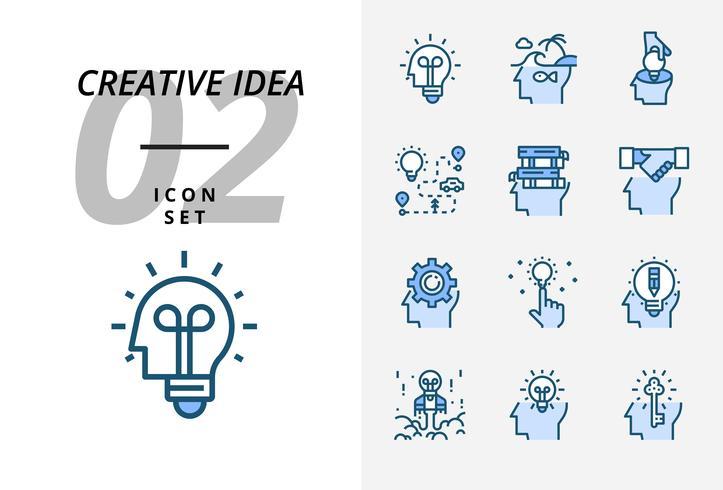 Pacote de ícones para a idéia criativa, ideia genial, criativa, bulbo, viagens, estrada, viagem, plano, livro, educação, aperto de mão, negócios, gestão, lápis.