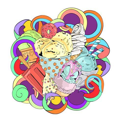 Composição tirada mão do gelado dos desenhos animados da garatuja do vetor mão colorida.