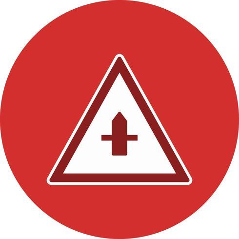 Icono de signo de carretera de menor importancia vector