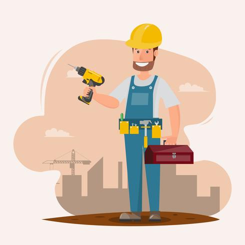 architect, foreman, engineering construction worker. vector illustration