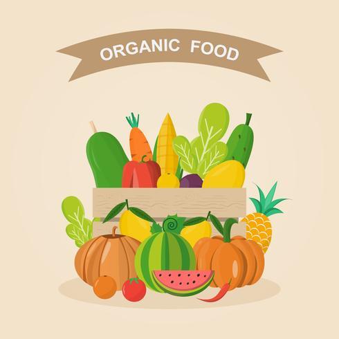 Organisk mat. Vektor illustration, uppsättning grönsaker och frukter