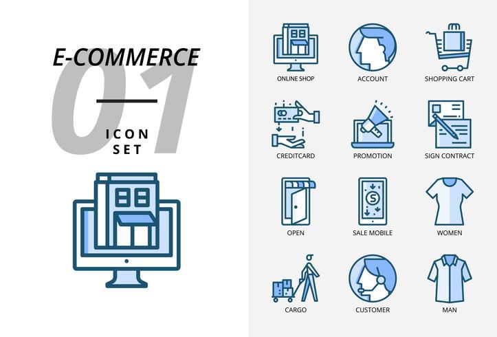 Pack d'icônes pour commerce électronique, boutique en ligne, compte, panier d'achat, paiement, promotion, contrat de signature, magasin ouvert, vente mobile, vêtement pour femmes, cargaison, client, vêtement pour homme