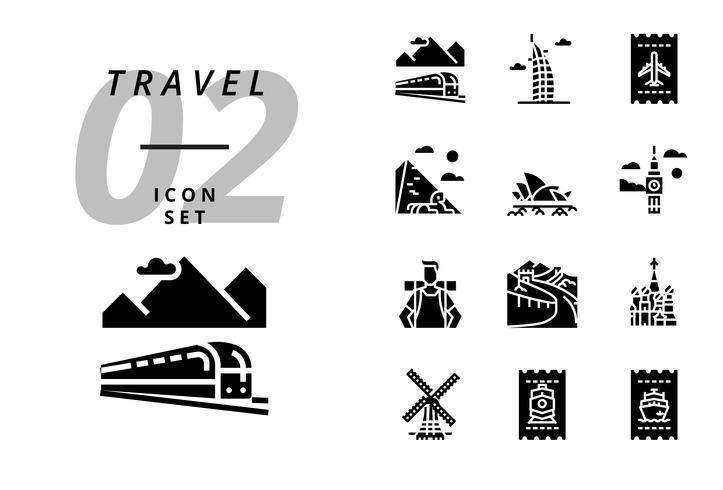 Pack-pictogram voor reizen, treinvervoer, Dubai, vliegticket, piramide, opera, Big Ben, backpacker, grote muur, Taj Mahal, windmolen, treinkaartje, bootticket.