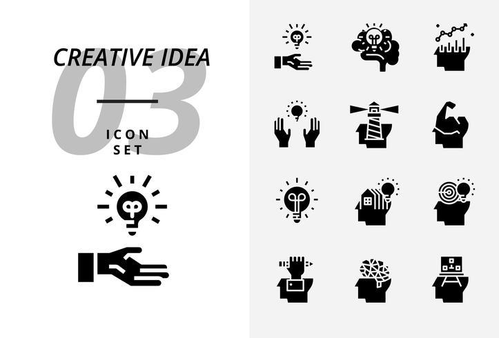 Pacote de ícones para a idéia criativa, ideia genial, criativa, lâmpada, ciência, caneta, lápis, negócios, gráfico, casa, alvo, empréstimo, chave, foguete, cérebro.