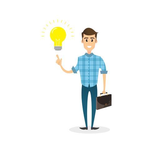 Personagem de empresário inteligente com uma lâmpada de ideia acima da cabeça