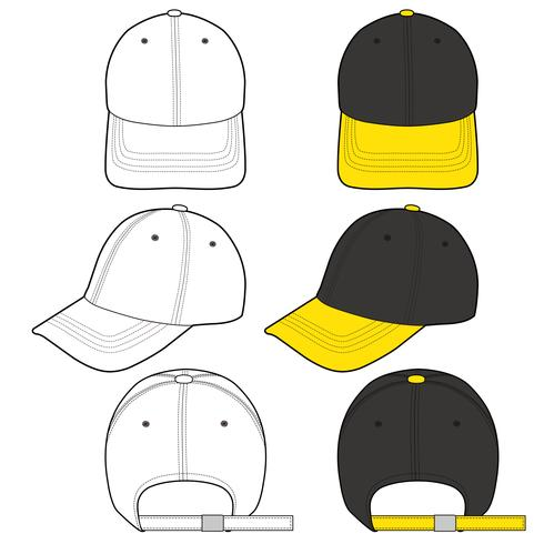 Baseball Cap fashion flat sketch template