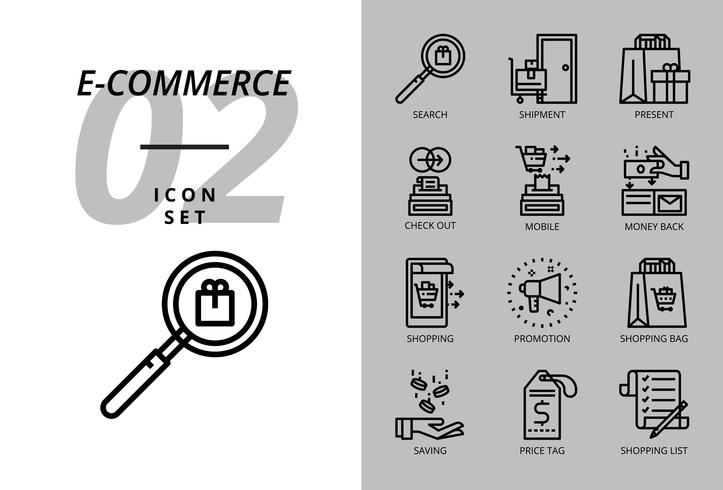 Icon pack for e-commerce, search, shipment, present, check out, mobile, money back, man clothing, promotion, shopping bag, shopping.
