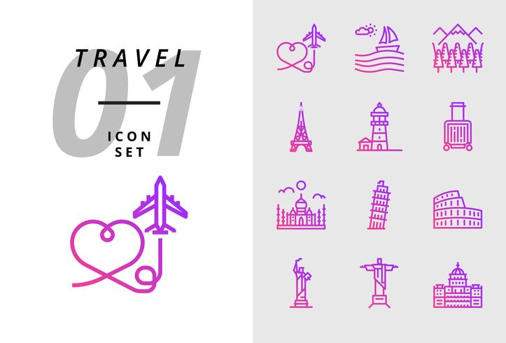 Pack icon for travel, Air plane, scenery, forest, Paris tower, lighthouse, trolley bag, Taj Mahal, Pisa tower, colosseum, statue of united states, deja neiro, capital use. vector