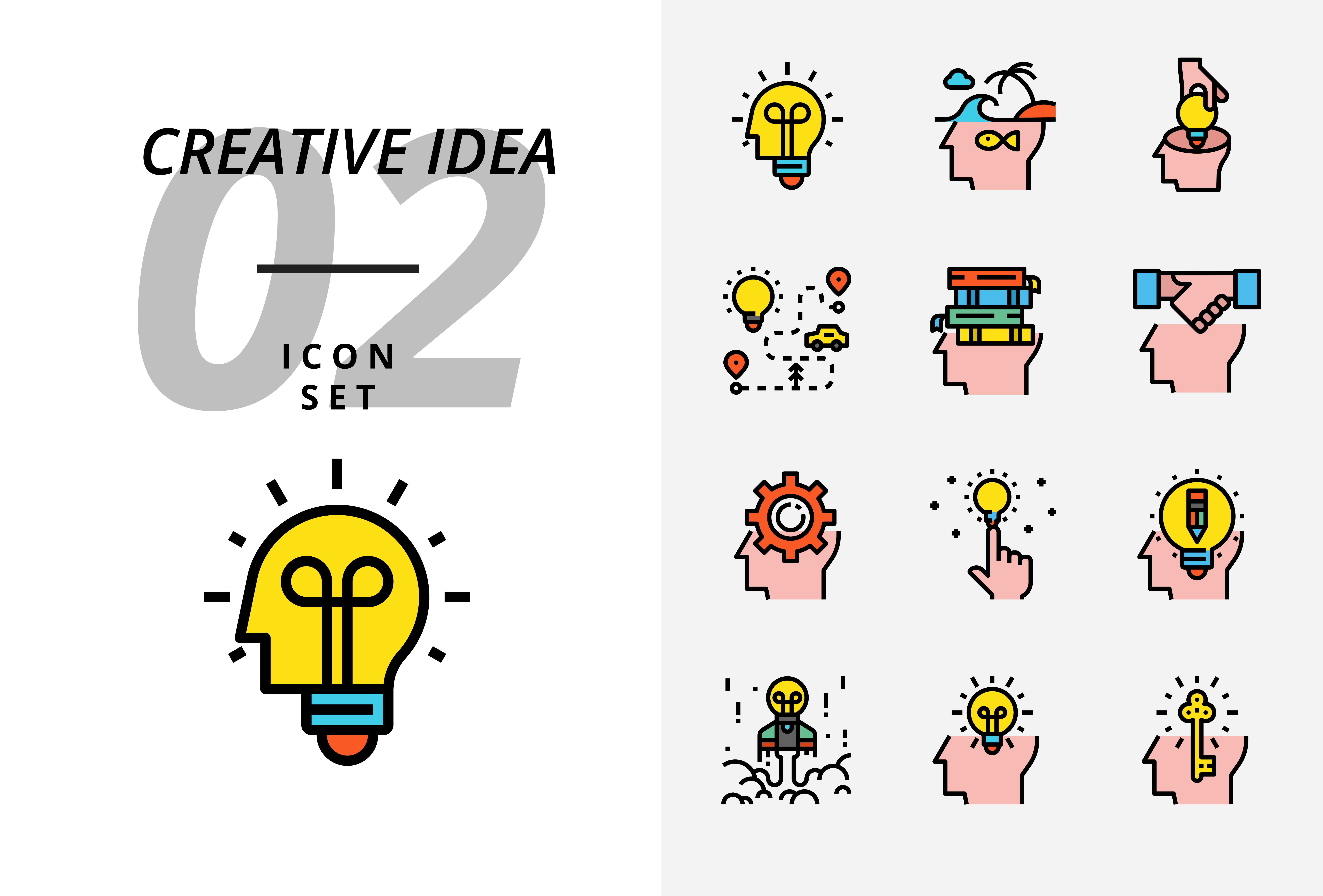 icon pack for creative idea  brainstorm  idea  creative