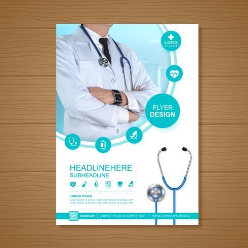 Cuidado de la salud cubierta a4 plantilla de diseño para un informe y diseño de folleto médico, folleto, decoración de folletos para la ilustración de impresión y presentación de vectores