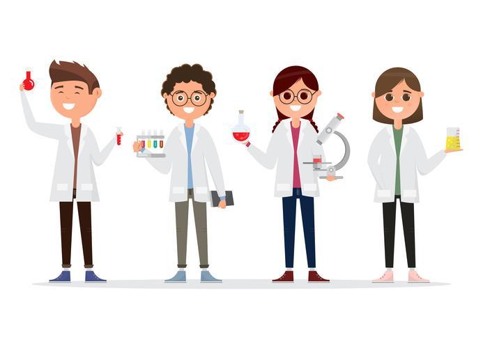 kinderen in verschillende karakters. schoolonderzoek in de chemie vector