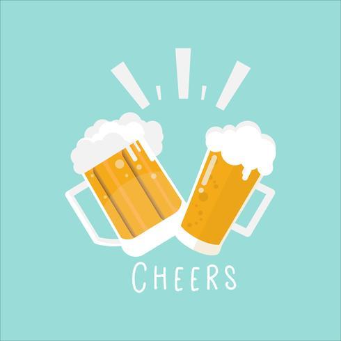 glas bier en mok op achtergrond