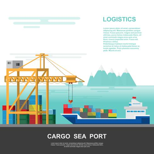 Warehouse and shipping port logistic on a flat style vector
