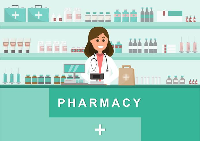 pharmacy with nurse in counter. drugstore cartoon character  vector