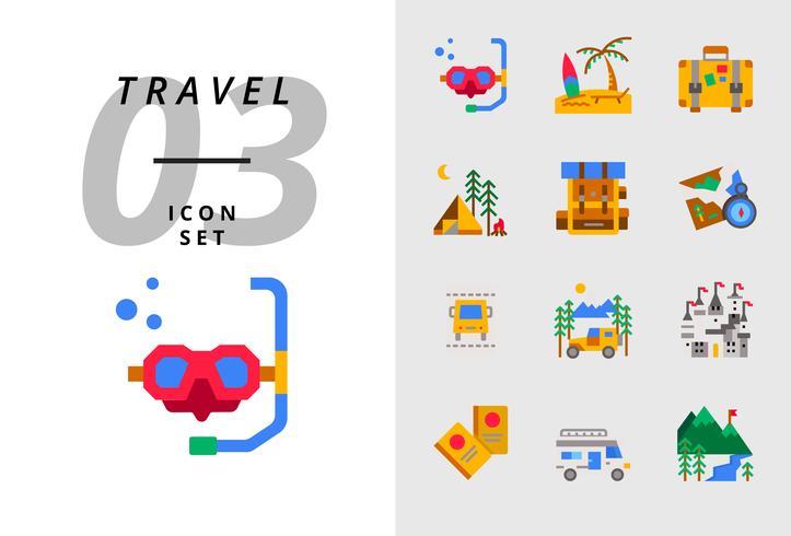 Pack ícone para viagens, mergulho, praia, mala, camping, mochila, mapa, passagem de ônibus, campista, castelo, passaporte, van de campista, montanha de gelo.