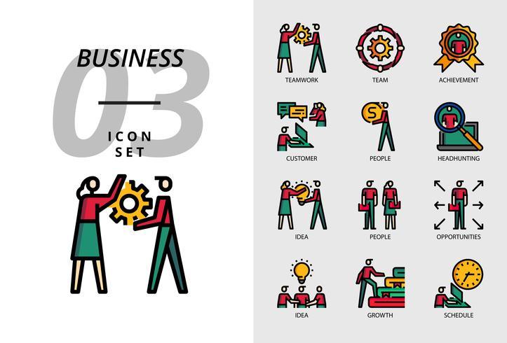 Paquete de iconos para negocios, trabajo en equipo, equipo, logros, clientes, personas, búsqueda de talentos, ideas, personas, oportunidades, crecimiento, crecimiento, programación.