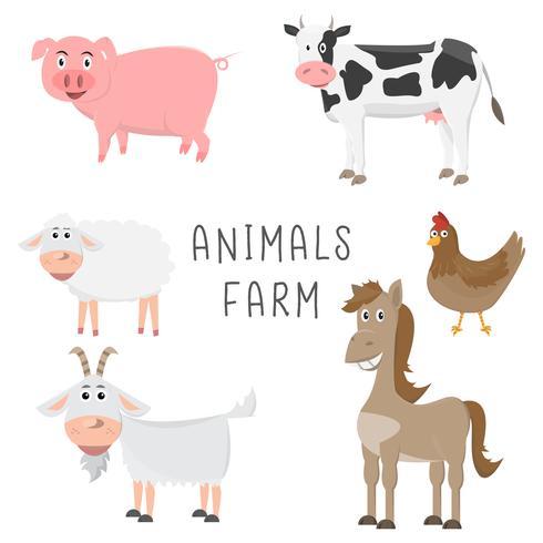conjunto de animais no design plano de fazenda dos desenhos animados