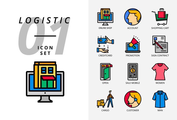 Paquete de iconos para comercio electrónico, tienda en línea, cuenta, carrito de compras, crédito de pago, promoción, contrato de firma, tienda abierta, venta de productos móviles, ropa de mujer, carga, cliente, ropa de hombre.