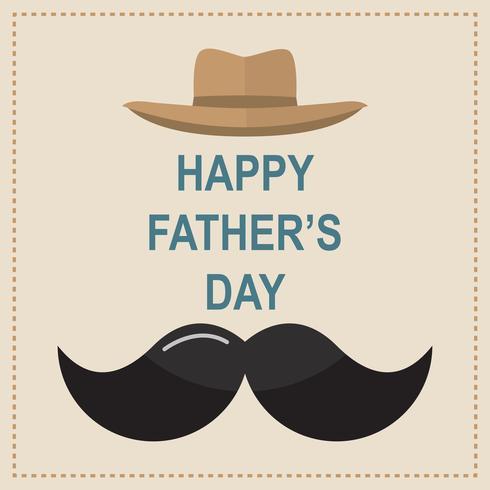 Tarjeta de felicitación feliz del día de padre. Diseñe con la corbata de lazo, bigote, gafas negras sobre fondo de papel retro.