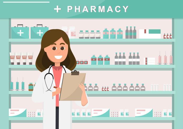 Farmacia con enfermera en mostrador. personaje de dibujos animados de droguería vector