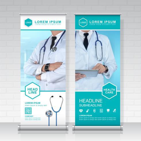 sjukvård och medicinsk roll up design, standee och banner mall dekoration för utställning, tryckning, presentation och broschyr flyer koncept vektor illustration