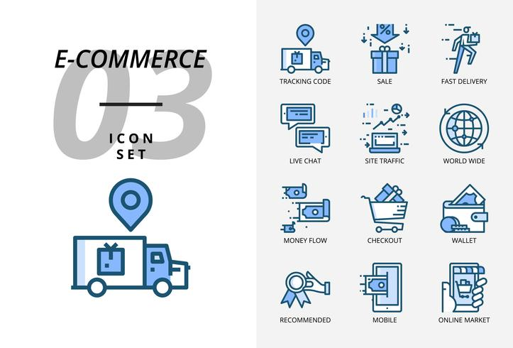 Icon pack for e-commerce, tracking code, sale, fast delivery, money