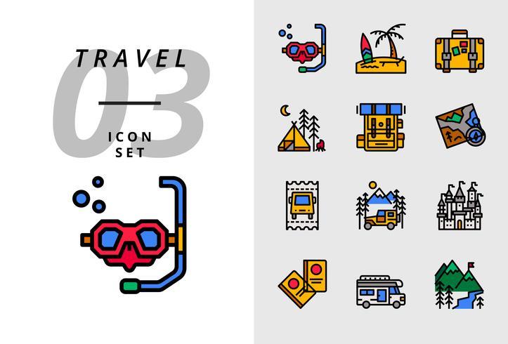 Pack ikon för resor, Scuba, strand, resväska, camping, ryggsäck, karta, buss biljett, husbil, slott, pass, camper van, is berg.