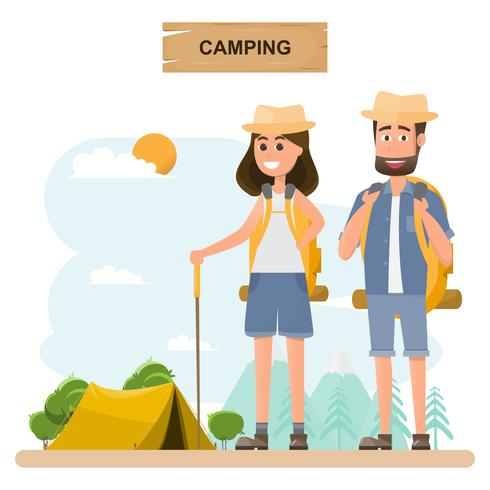 folk reser. par med ryggsäck gå till camping på semester