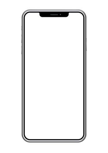Smartphone med en blank skärm isolerad på en vit bakgrund.