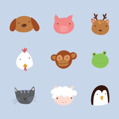 Rostos de animais rabiscados e coloridos