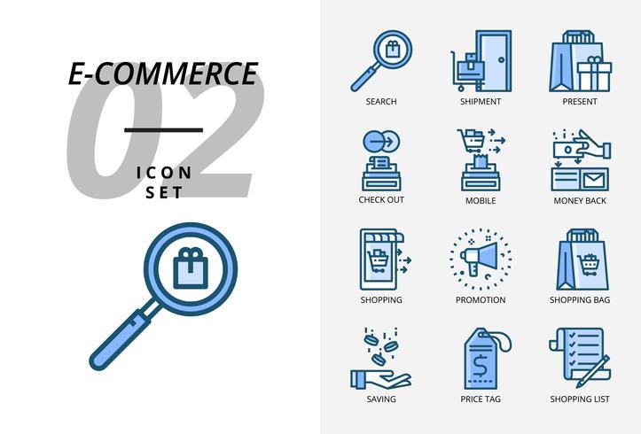 Icon pack per e-commerce, ricerca, spedizione, regalo, check out, cellulare, rimborso, abbigliamento uomo, promozione, shopping bag, shopping.