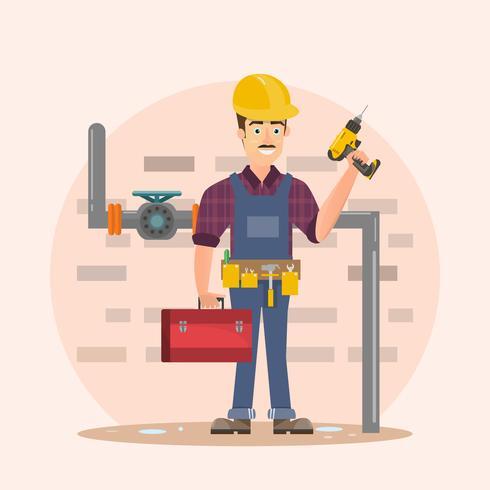 architect, voorman, techniek bouwvakker vector illustratie cartoon
