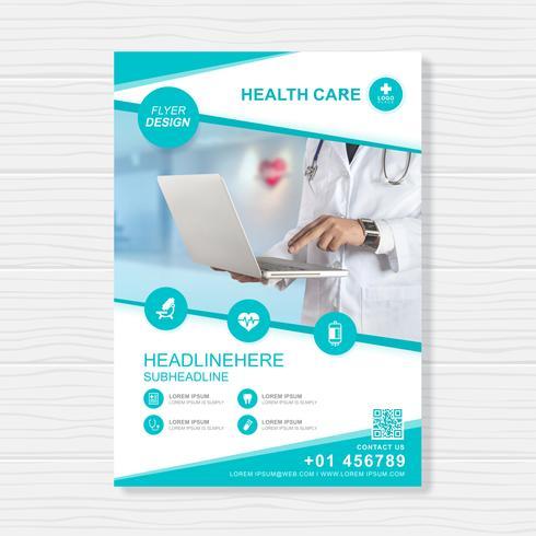 Couverture de soins de santé a4 modèle de conception pour un rapport et la conception de la brochure médicale, flyer, décoration de tracts pour illustration vectorielle de présentation et d'impression