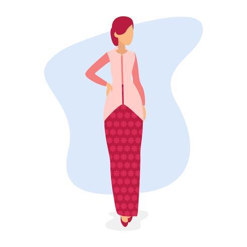 Mujer vistiendo kebaya