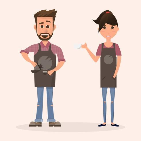 vänlig barista framför kaffebryggare i en kafé