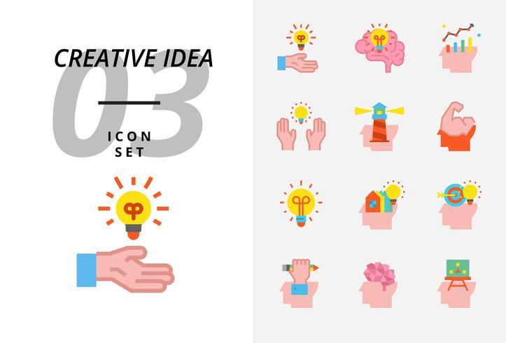 Icon pack for creative idea, brainstorm, idea, creative, bulb, science, pen, pencil, business, graph, home, target, loan, key, rocket, brain.