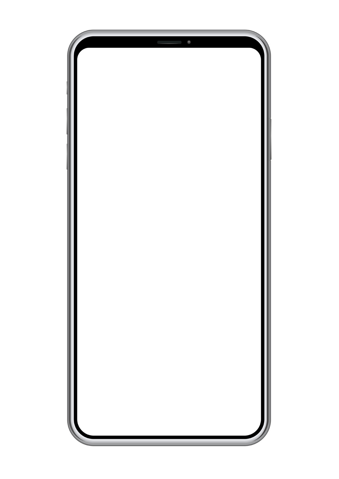 Smartphone with a blank screen isolated on white ...