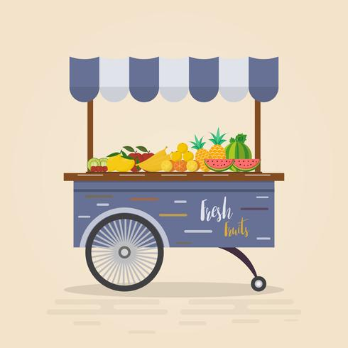 Tienda de granja. Mercado local. Venta de frutas y hortalizas. vector