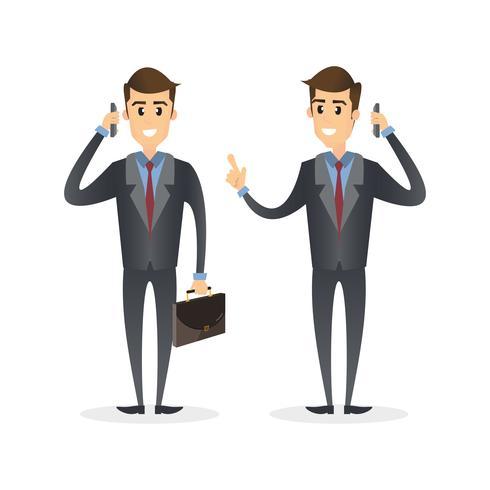 Homme d'affaires, parler au téléphone mobile. Personnage d'homme d'affaires de dessin animé isolé sur fond blanc.