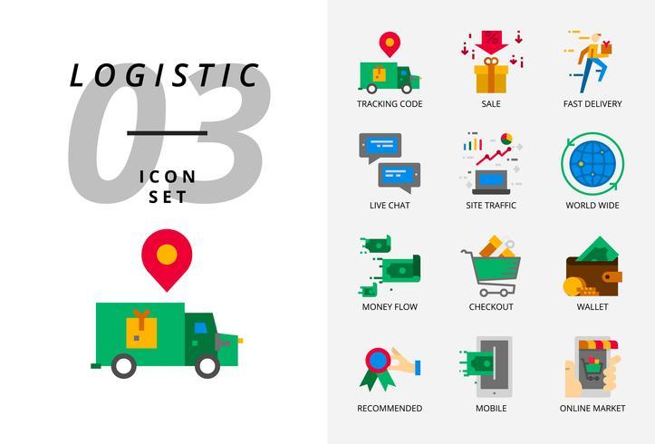 Paquete de iconos para comercio electrónico, código de seguimiento, venta, entrega rápida, flujo de dinero, pago, billetera, chat en vivo, tráfico del sitio, mundial, móvil, mercado en línea.