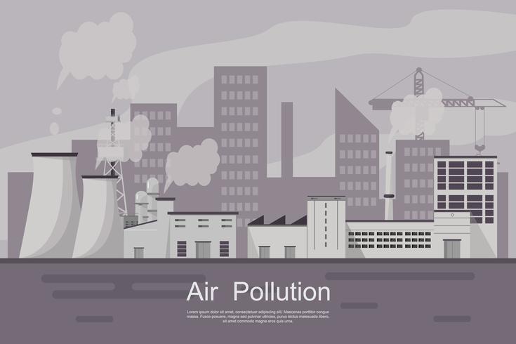 Ville polluée par les plantes et les tuyaux. vecteur