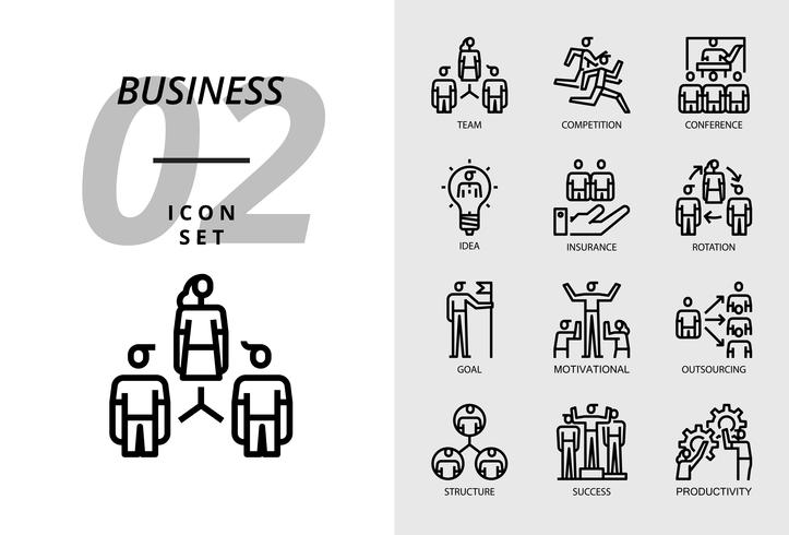 Icon pack for business, team, competition, conference, idea, insurance, rotation, goal, motivation, outsourcing, structure, success, productivity.