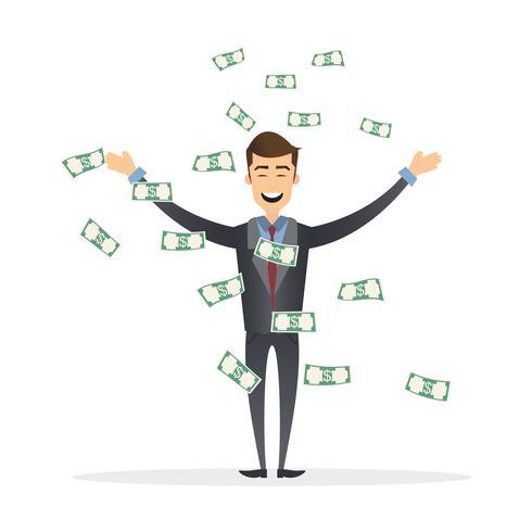Homem de negócios bem sucedido está encantado com a chuva de dinheiro acima