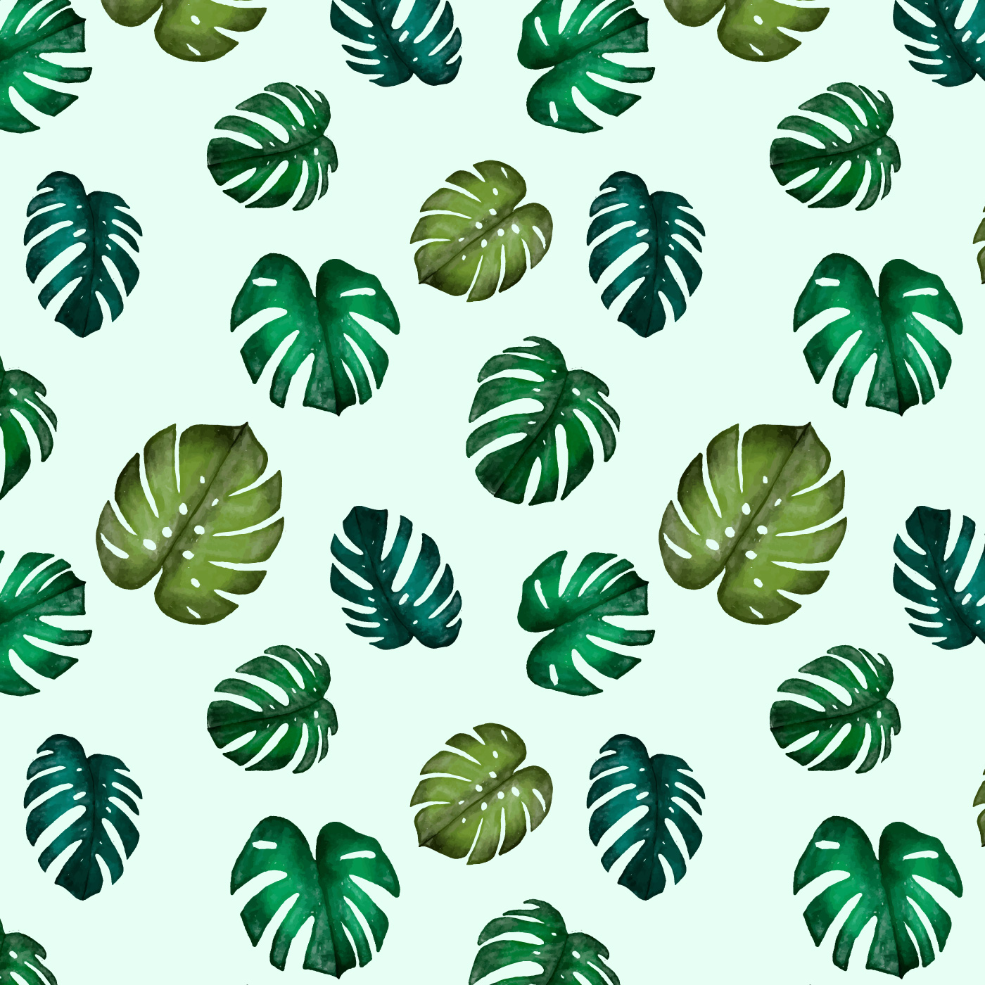 Cute Watercolor Monstera Leaves Pattern - Download Free ...