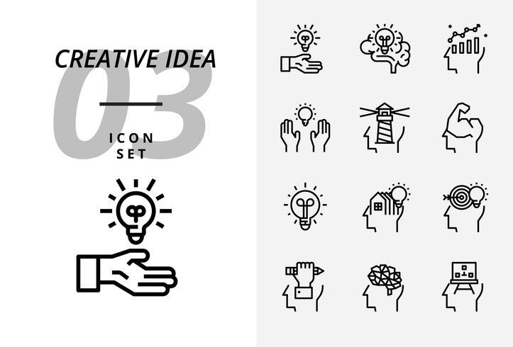 Icon pack voor creatief idee, brainstorm, idee, creatief, lamp, wetenschap, pen, potlood, bedrijf, grafiek, huis, doel, lening, sleutel, raket, hersenen.