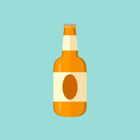 glass of beer mug and bottle flat icon design