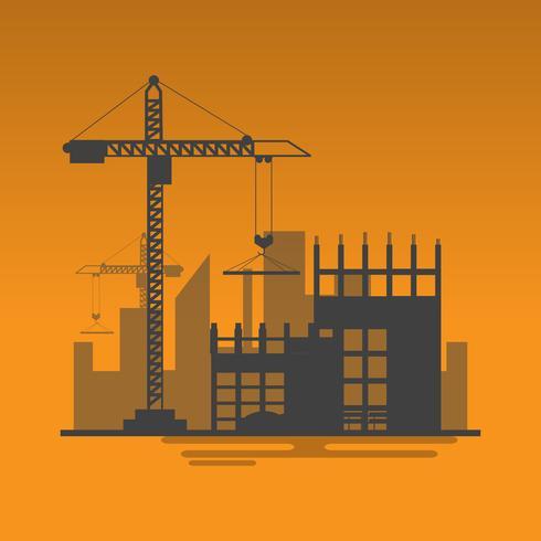 Silhouette der Baustelle-Arbeitsprozess im Bau mit Kränen und Maschinen