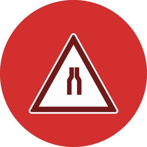 Vector Road estreita em ambos os lados Road Sign Icon