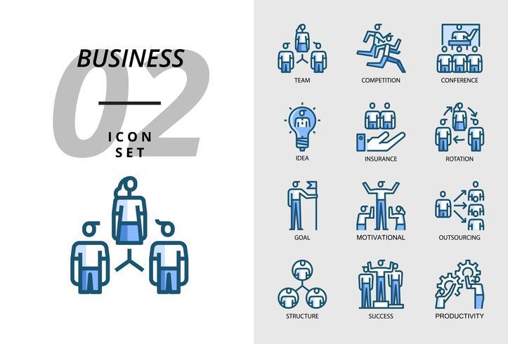 Paquete de iconos para negocios, equipo, competencia, conferencia, idea, seguro, rotación, objetivo, motivación, subcontratación, estructura, éxito, productividad.